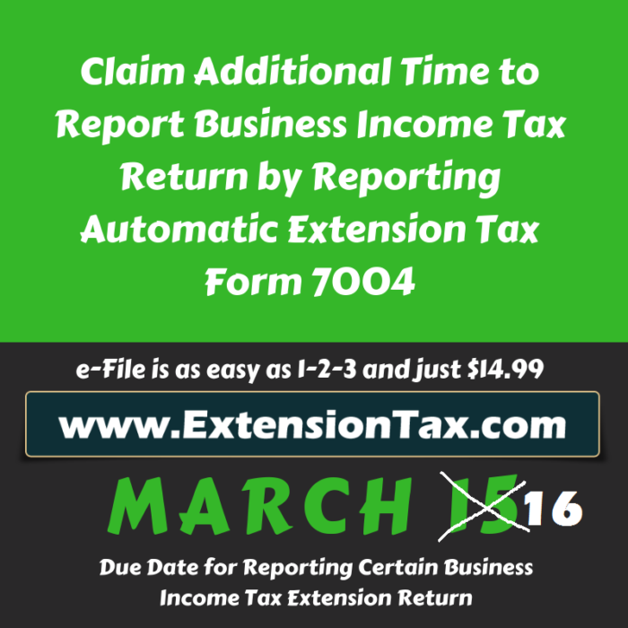 Form 7004 Business Tax Extension Form