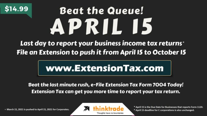 Extension Tax Online is Due April 15